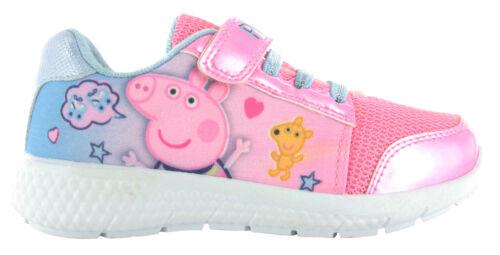 Peppa Pig Filles Paillettes Rose Low Top Chaussures De Loisirs Baskets UK Tailles enfant 5-10