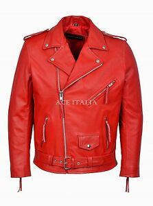 Leather Red Motorcycle Cowhide Classic Real Men's Biker Brando xZ0qwfF5Z