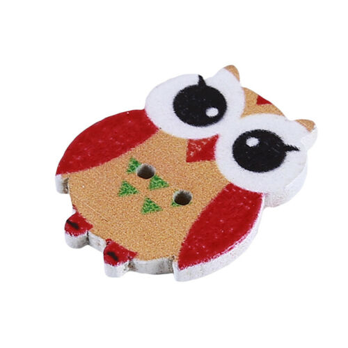 50Pc Owl Big Eyes Cute 2 Holes Wooden Buttons Sewing Button Kid/'s Scrapbooking