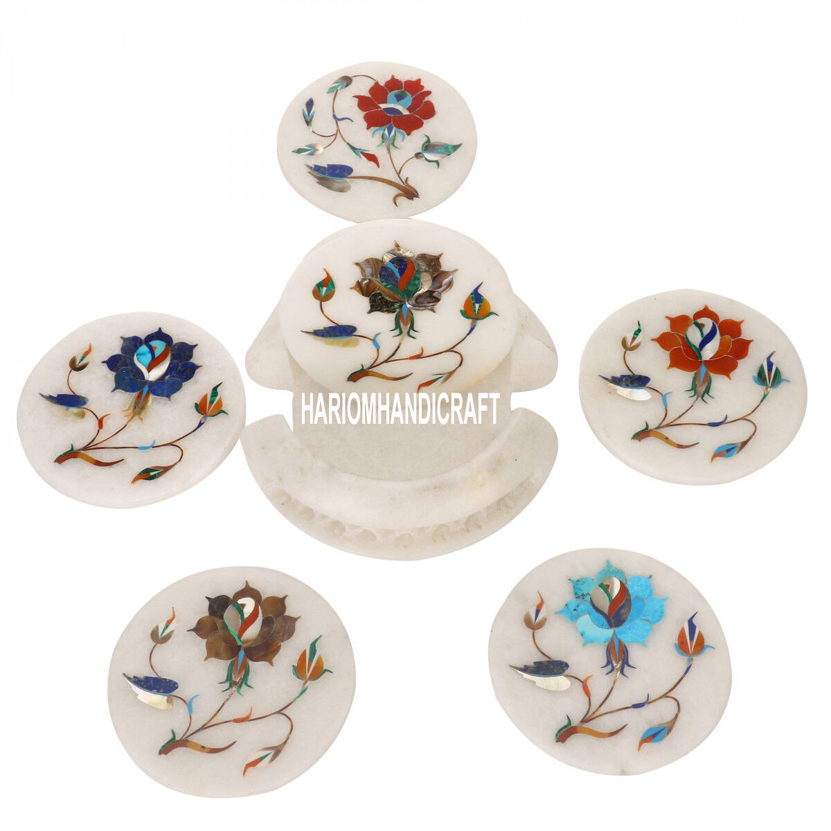 MARBRE BLANC pierre Floral Collectible Thé Coaster Set incrustation DECOR cadeaux H3568