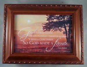 So God Made A Farmer Woodgrain Photo Frame Music Box What A Friend