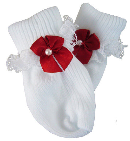 Patriotic Red Bow Lace Trim Socks for Bitty Baby + Twins Doll Clothes