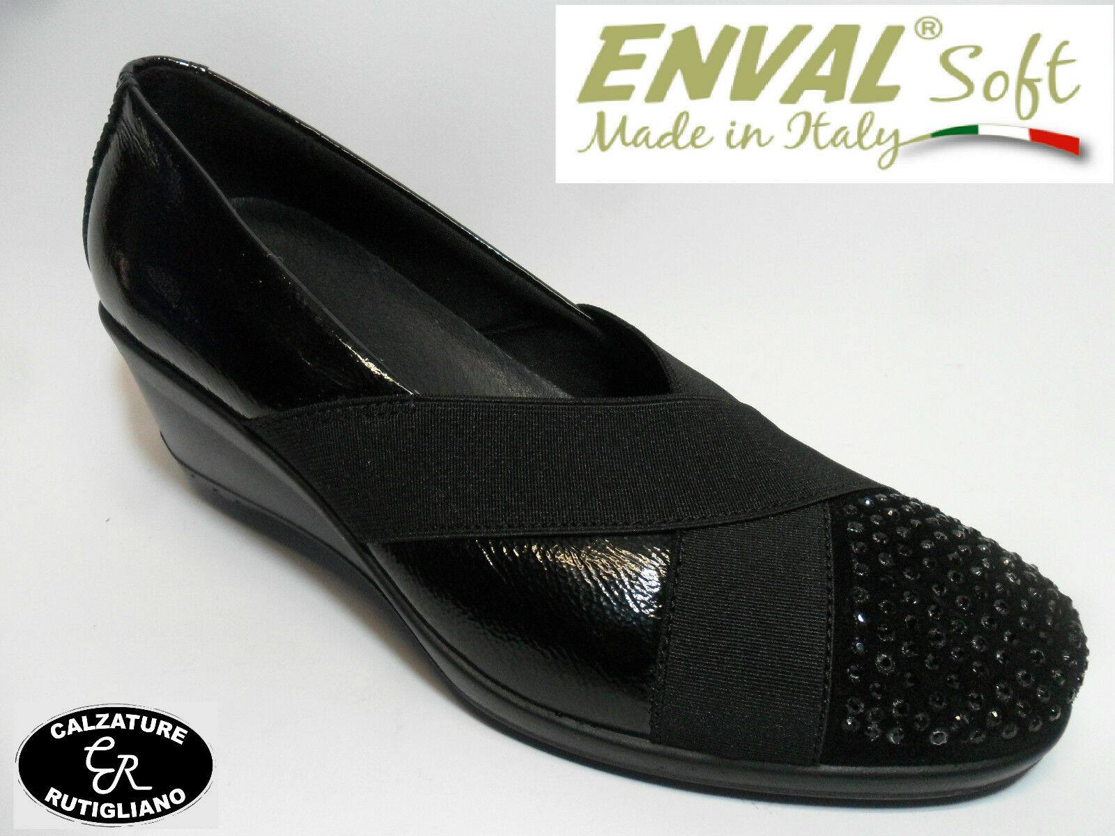 ENVAL SOFT art.49510 schuhe Damens MODELLO DECOLLETE' IN VERNICE NERO CON ZEPPA
