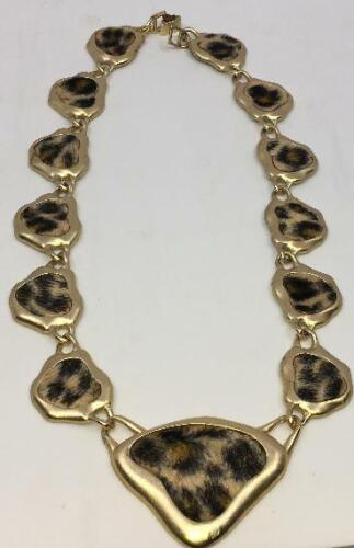 Vintage Faux Leopard Fur Goldtone Necklace