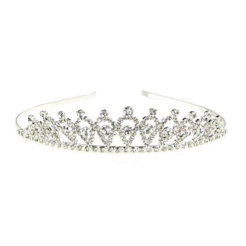 Rhinestone Tiara Crown Gwyneth 1-Inch Silver