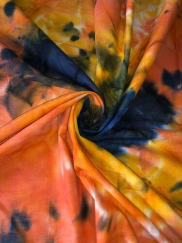 "1 Meter Navy//Orange Tie /& Dye Print100/% Pure Cotton Batik Fabric 45""Wide"