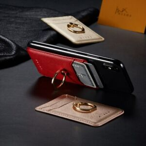 Universal Leather Card Wallet Holder For Cell Phone Pocket Ring Stand Sticker