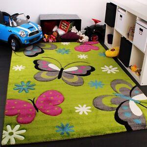 Papillon-Tapis-Vert-Rose-Filles-Chambre-a-Coucher-Tapis-Kids-Nursery-Chambre-de-bebe-tapis-de-jeu