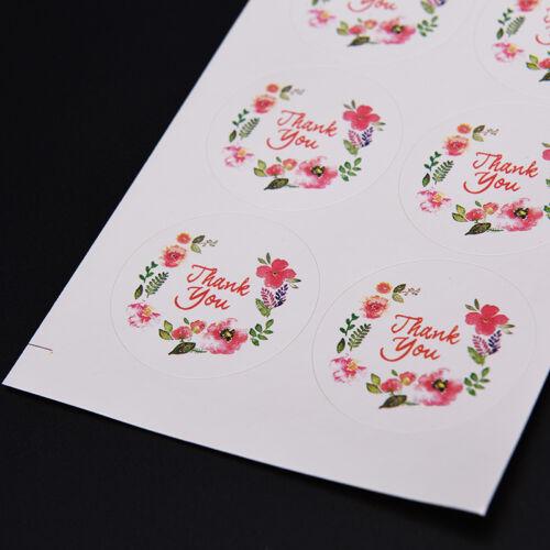 100x 3,5 cm Blume Design Aufkleber Papier Etiketten Danke Dichtungen Für Ges KQ