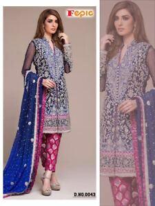 ea57920156ad Image is loading Blue-Heavy-Work-Wedding-Salwar-Kameez-Designer-Pakistani-