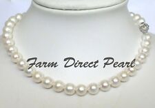 """Long 24"""" Inch Genuine ROUND 9-10mm White Pearl Necklace Cultured Freshwater"""