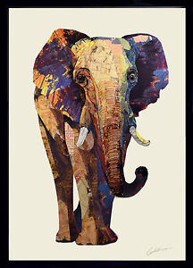 m moire d 39 l phant 3d art collage image inde afrique mural dessin moderne animal ebay. Black Bedroom Furniture Sets. Home Design Ideas