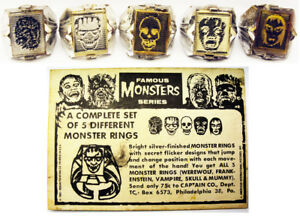 RARE-1960-039-s-Famous-Monsters-Flicker-Ring-Mailaway-Premiums-Complete-Set-w-Card