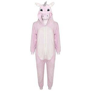 de58adc6594e Girls Kids Pink Unicorn One Piece Fleece Fancy Dress Pyjamas ...