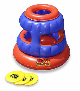 Swimline 90286 Slot Slam Disc Toss Inflatable Floating Swimming Pool Game Fun