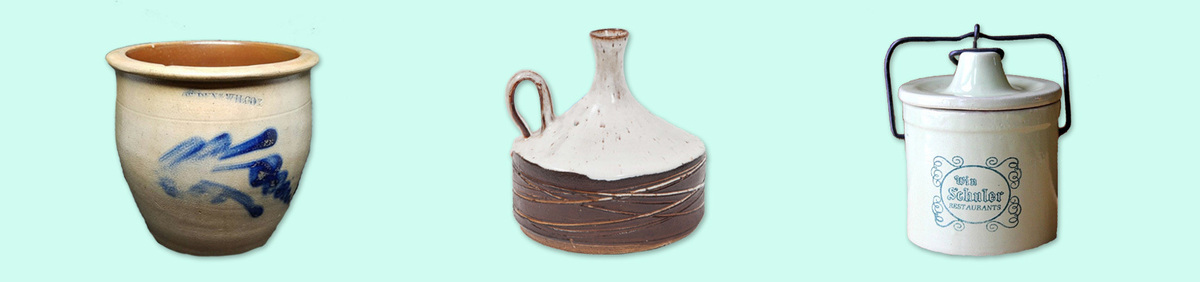 Shop Event Rustic Ceramic Antiques Sale Shop crocks, jugs, and jars.