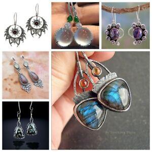 925-Silver-Dangle-Drop-Earrings-Ear-Hook-Moonstone-Women-Fashion-Jewelry-Gift