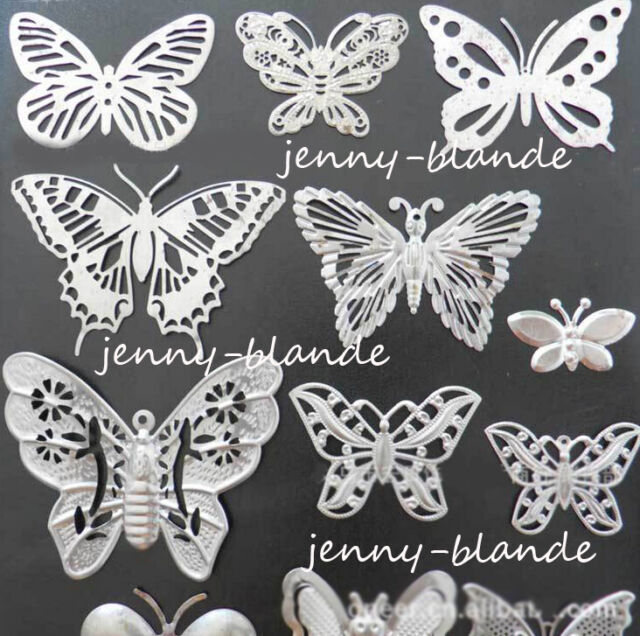 50Pcs Filigree Hollow Metal Butterfly Charms Pendants Stamping Crafts Finding