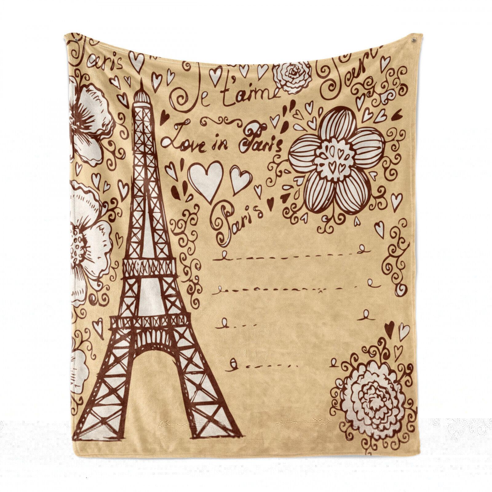 Eiffelturm Weich Flanell Fleece Decke Liebe in Paris Blumen