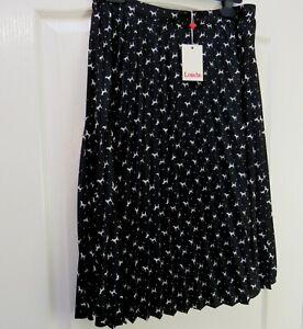 BNWT-LOUCHE-Sunny-Dog-Print-Skirt-Sz-14-Pleated-Career-Quirky-Black-Knee-Length