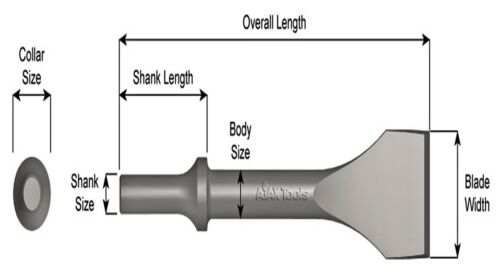 """Ajax 323-4-1//2 .680 Round Oval Chipping Hammer Chisel 4-1//2/"""" X 10/"""" OAL USA"""