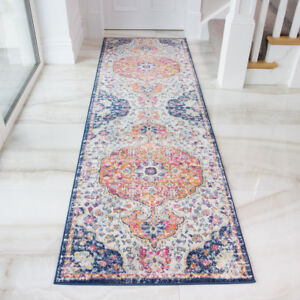 Distressed Red Blue Traditional Hall Runner Vintage Long
