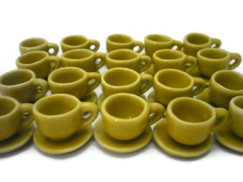 40x12 mm Yellow Coffee cup and Saucer Dollhouse Miniatures Supply Deco