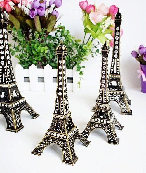 Antique Bronze Tone Paris Eiffel Tower Sculpture Retro Model Home Decors  5-48cm