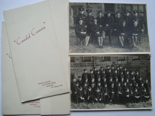 2 VINTAGE GROUP PHOTO FIRE BRIGADE FIREMEN WOMEN NFS YORKSHIRE SOCIAL HISTORY