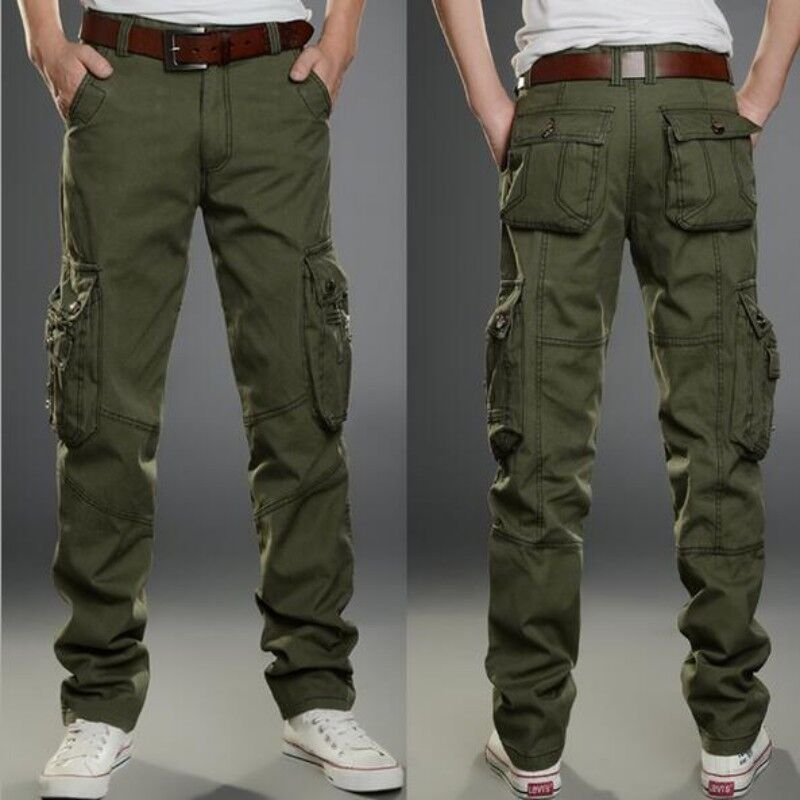 Spring New Mens Cutton Blend Loose Military Straight Leg Cargo Long Casual Pants