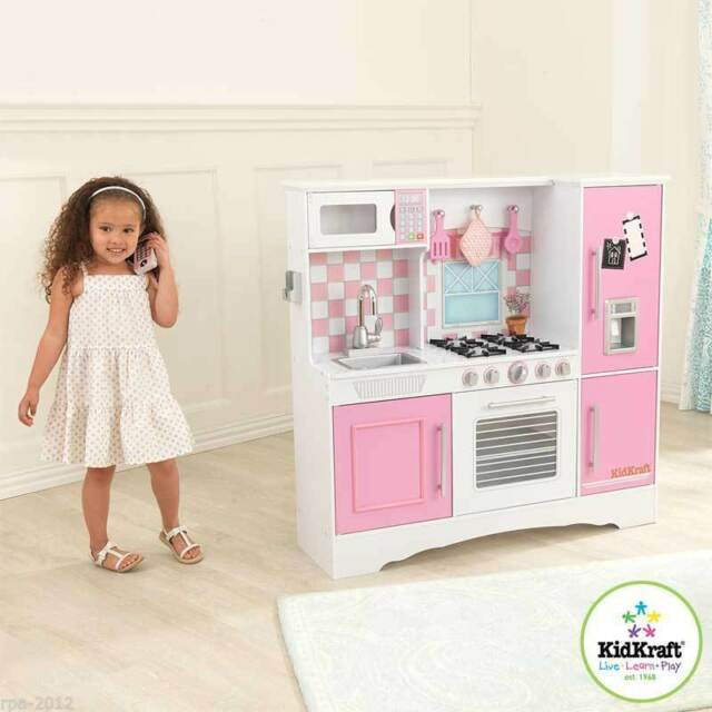 Kidkraft Culinary Wooden Play Kitchen Pink Pastel Kids Childs S Toy New