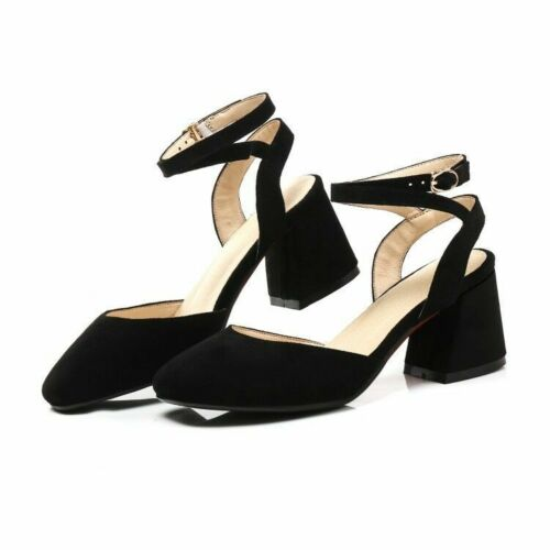 Women Classic Square Toe Cross Strap Block Heels Synthetic Suede Sandals Shoes