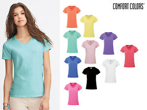 Comfort-Colors-Women-039-s-Cotton-V-Neck-Tee-3199-Short-Sleeve-Semi-Fitted