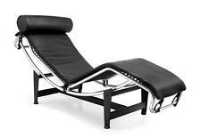 Le Corbusier Style Chaise in Genuine Black Top Grain Leather
