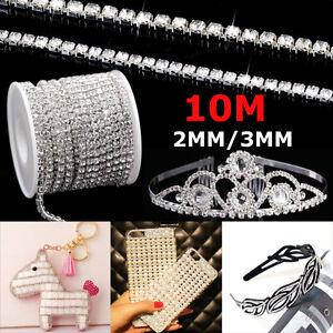1-2-Rolls-33ft-Chain-Trim-Rhinestone-Crystal-Glass-Gem-Sparkle-Diamante-2MM
