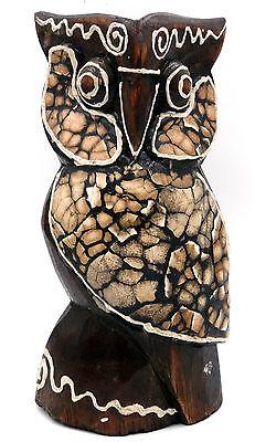 Chouette hibou en bois motif fleur 20 cm déco ethnique artisanat Indonésie