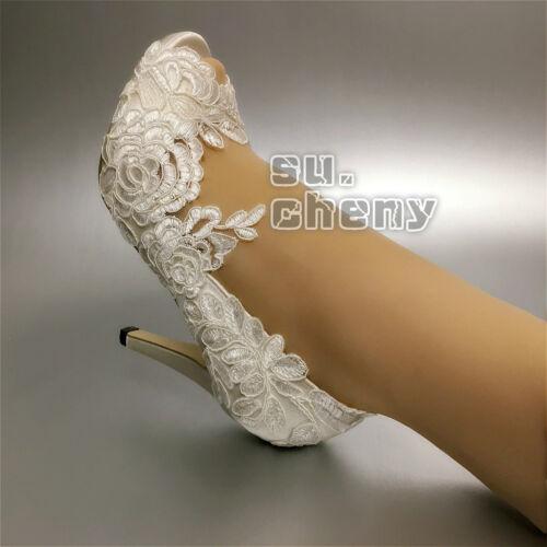 """su.cheny 3/"""" 4/"""" heels white ivory fine satin lace open toe Wedding Bridal shoes"""