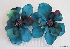 Teal Blue,Purple,Green,2 Apple Blossom Silk Flower Hair Comb,Pinup,Updo,Bridal