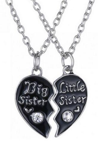 et grande big little soeur. 2 colliers pendentifs coeur noirà séparer petite