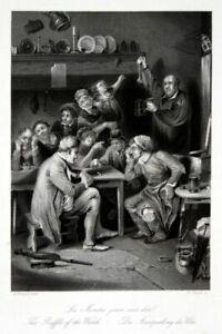 Ausspielung-Uhr-clock-Uhren-ausspielen-Ziffernblatt-Stahlstich-antique-print