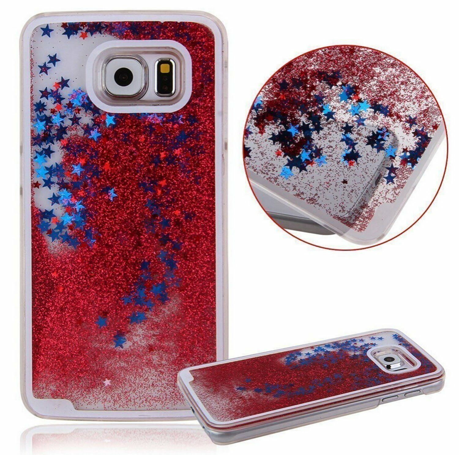 899bdb00f4f Samsung Galaxy S7 - Red Hard Flowing Liquid Case Cover Waterfall Glitter  Stars for sale online | eBay