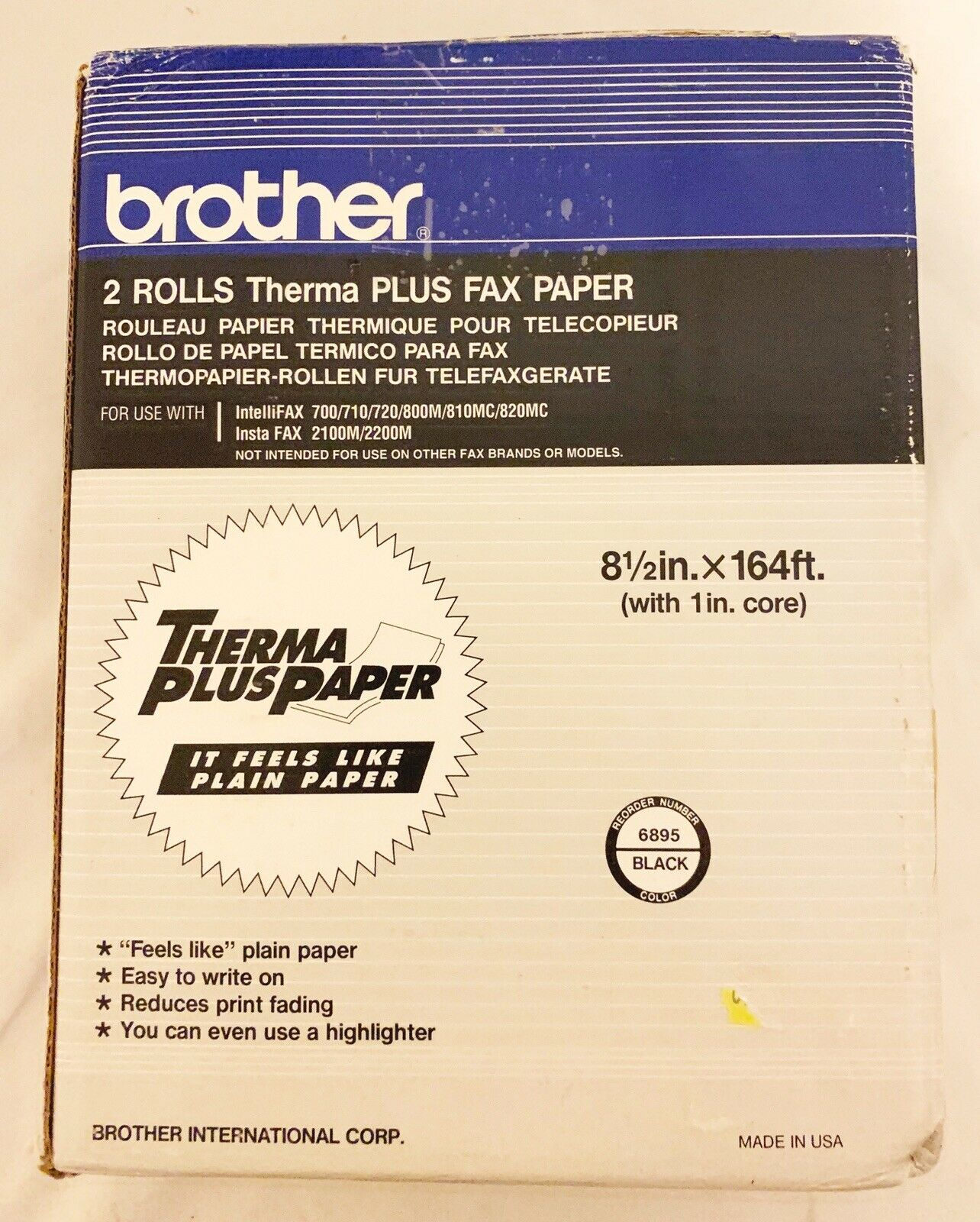 Thermal Paper 2//Pk Retail Packaging Brother 6895 Fax-635 Intellifax Home//Office Faxphone