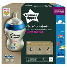 2x Tommee Tippee Closer to Nature Decorated Bottles 260ml Blue 42252130