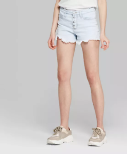 Wild-Fable-Women-039-s-Exposed-Button-Fly-High-Rise-cut-off-shorts-Light-Wash-NWT
