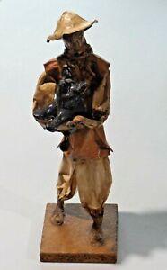 Vintage Mexican Folk Art Paper Mache Figure Old Man Holding Pig E.B. Elaborado