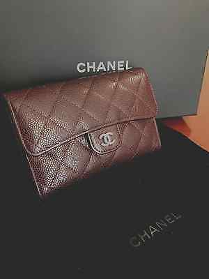 CHANEL QUILTED GRAY/BURGANDY LEATHER SMALL CLUTCH/WALLET