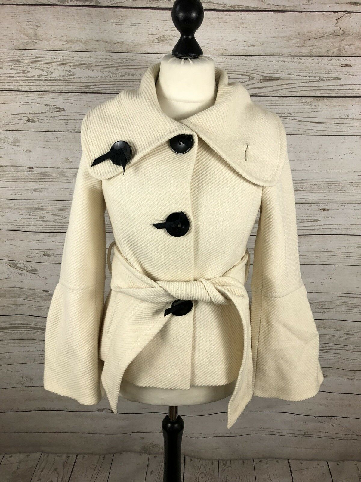 COAST Wool Coat - UK10 - Cream - Great Condition - Women's