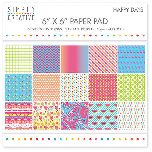 Simply Creative Happy Days Simply Creative 30 x 6x6 Paper for card /& crafts