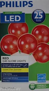 Philips G40 String Lights : Philips LED 25 Red G40 Globe Bulbs String Lights Energy Saving NIB