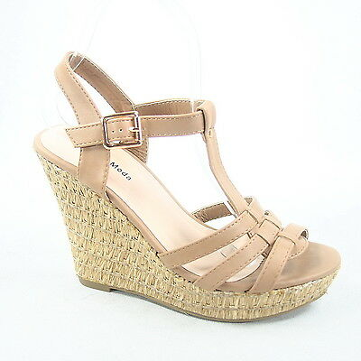 New Women's Buckle Strappy Wedge Platform Open Toe Sandal Shoes All Size 5 - 10